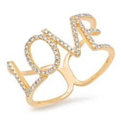 "0.20ct 14k Yellow Gold Diamond ""Love"" Ring"
