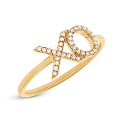 "0.09ct 14k Yellow Gold Diamond ""XO"" Ring"