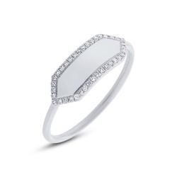 Maddison E 0.11ct 14k White Gold Diamond Bar ID Ring