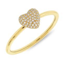 0.11ct 14k Yellow Gold Diamond Pave Heart Ring