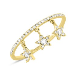 0.19ct 14k Yellow Gold Diamond Star Ring