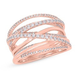 0.62ct 14k Rose Gold Diamond Bridge Ring