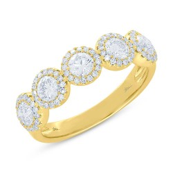 1.00ct Round Brilliant Center and 0.25ct Side 14k Yellow Gold Diamond Lady