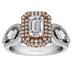 Emerald Cut Double Halo Semi Mount Engagement Ring