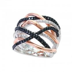 EFFY 14K White & Rose Gold Diamond Black Diamond  Ring