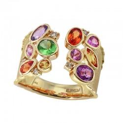 EFFY 14K Yellow Gold Diamond Orange Sapphire Pink Sapphire Purple Sapphire Tsavorite Yellow Sapphire Ring