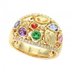 EFFY 14K Yellow Gold Diamond Natural Ceylon Sapphire Orange Sapphire Pink Sapphire Purple Sapphire Tsavorite Yellow Sapphire Ring