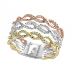 EFFY 14K Wht/Yel/Pnk Diamond Ring