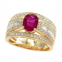 EFFY 14K Yellow Gold Diamond Natural Ruby Ring
