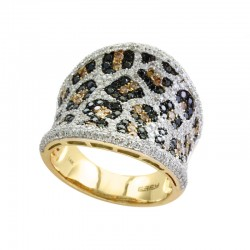 EFFY 14K Yellow Gold Diamond Black Diamond Espresso Diamond  Ring