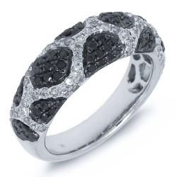 Madison E 1.00ct 14k White Gold Black & White Diamond Ring