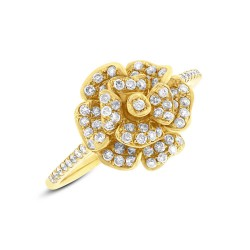 Madison E 0.46ct 14k Yellow Gold Diamond Flower Ring