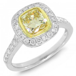 Madison E 1.29ct Cushion Cut Center and 0.50ct Side 14k Two-tone Gold Natural Yellow Diamond Ring Size 4.5