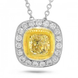 Madison E 0.51ct Cushion Cut Center and 0.17ct Side 14k Two-tone Gold Natural Yellow Diamond Pendant