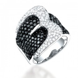Madison E 3.05ct 14k White Gold Black & White Diamond Belt Ring Size 5.5