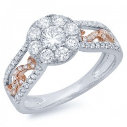 Madison E 1.07ct 14k Two-tone Rose Gold Diamond Cluster Engagement Ring