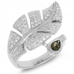 Madison E 0.84ct Diamond & 0.27ct Smokey Quartz 14k White Gold Leaf Ring