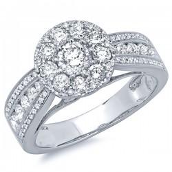 Madison E 1.25ct 14k White Gold Diamond Cluster Engagement Ring