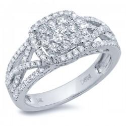 Madison E 0.87ct 14k White Gold Diamond Cluster Engagement Ring