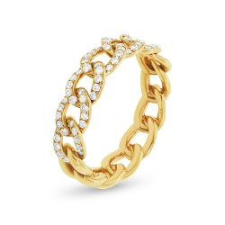 Madison E 0.41ct 14k Yellow Gold Diamond Chain Ring