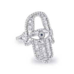 Madison E 1.64ct 14k White Gold Diamond Hamsa Ring Size 6.5