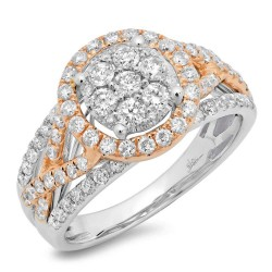Madison E 1.02ct 14k Two-tone Rose Gold Diamond Cluster Engagement Ring