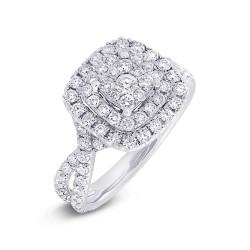 Madison E 1.37ct 14k White Gold Diamond Cluster Engagement Ring