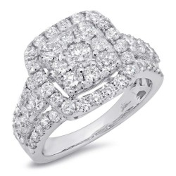 Madison E 2.32ct 14k White Gold Diamond Cluster Engagement Ring