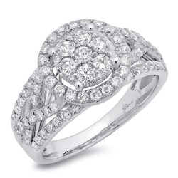 Madison E 1.02ct 14k White Gold Diamond Cluster Engagement Ring
