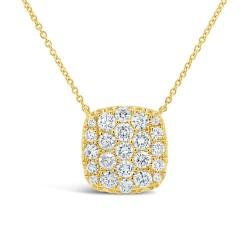 Madison E 1.09ct 14k Yellow Gold Diamond Pave Necklace