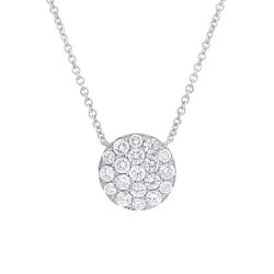 Madison E 0.99ct 14k White Gold Diamond Pave Circle Necklace
