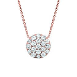 Madison E 0.99ct 14k Rose Gold Diamond Pave Circle Necklace