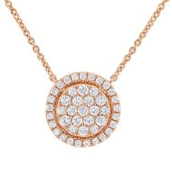 Madison E 0.48ct 14k Rose Gold Diamond Pave Circle Necklace
