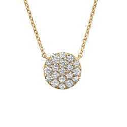 Madison E 0.43ct 14k Yellow Gold Diamond Pave Circle Necklace