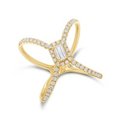Madison E 0.50ct 14k Yellow Gold Diamond Baguette Lady