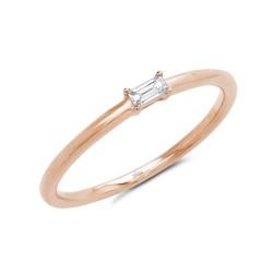 Madison E 0.07ct 14k Rsoe Gold Diamond Baguette Ring