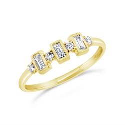 Madison E 0.27ct 14k Yellow Gold Diamond Baguette Ring