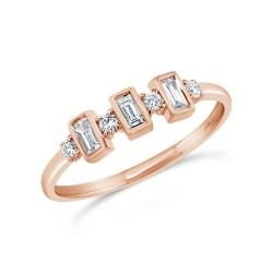 Madison E 0.27ct 14k Rose Gold Diamond Baguette Ring