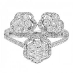 Madison E 1.09ct 14k White Gold Diamond Flower Ring