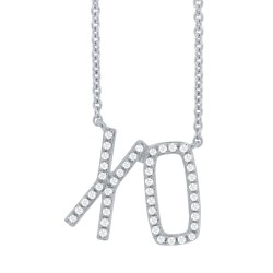 "Madison E 0.13ct 14k White Gold Diamond ""XO"" Pendant"