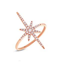 Madison E 0.24ct 14k Rose Gold Diamond North Star Ring