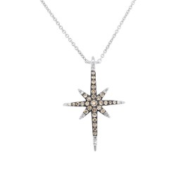 Madison E 0.24ct 14k White Gold White & Champagne Diamond North Star Necklace