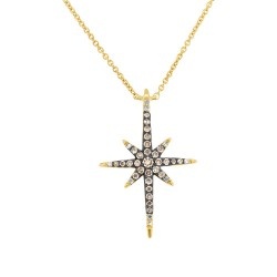 Madison E 0.24ct 14k Yellow Gold White & Champagne Diamond North Star Necklace