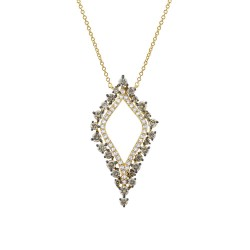Madison E 0.94ct 14k Yellow Gold White & Champagne Diamond Necklace