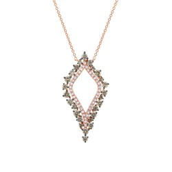 Madison E 0.94ct 14k Rose Gold White & Champagne Diamond Necklace