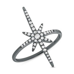 Madison E 0.24ct 14k Black Rhodium Gold Diamond North Star Ring