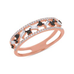 Madison E 0.37ct White and Black Diamond Baguette 14k Rose Gold Lady