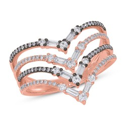 Madison E 0.70ct 14k Rose Gold with Black Rhodium Diamond Baguette Lady