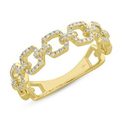 Madison E 0.22ct 14k Yellow Gold Diamond Link Ring