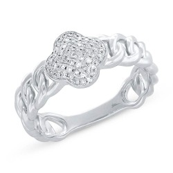 Madison E 0.14ct 14k White Gold Diamond Clover Link Ring